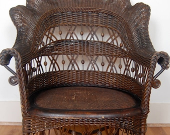 Antique Wicker Chair~Heywood Wakefield(not Marked)with Footrest Circa1900