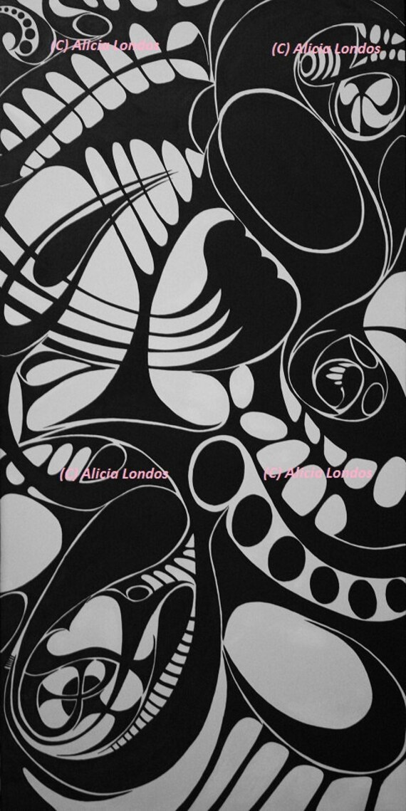 Painting Unseen Symmetry Black And White Swirl Design Etsy