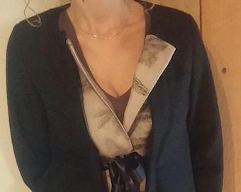 3/4 coat in black wool / green-beige / adjustable. 36218
