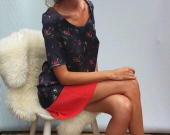 Shift Dress / floral satin/ lace back.13715