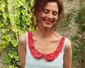 Trapeze dress / chasuble, Claudine collar / blue and red flowered.13115
