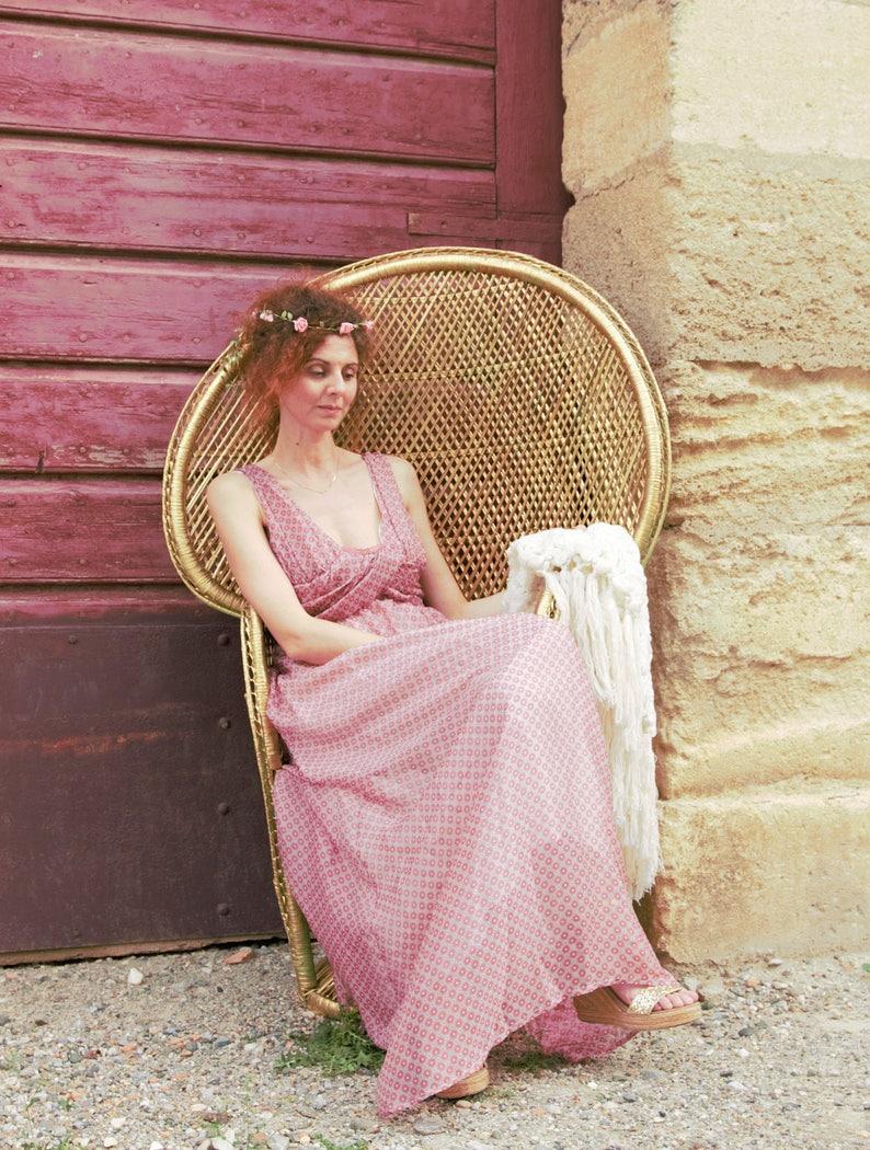 Long dress in silk / lace neckline. 00917 image 0