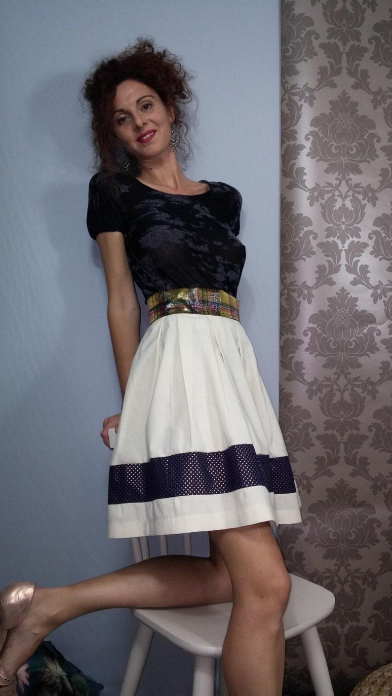60s ecru skirt / star / checkered fabrics.01116 image 1