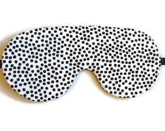 Black and White Polka Dot Sleep Mask, Adjustable Sleeping Mask, Sleeping Mask, Polka Dot Eye Mask