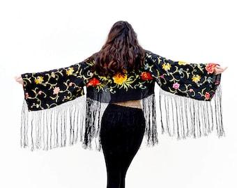 black crop jacket, silk kimono, embroidered jacket, cropped kimono black short jacket, fringe jackets, festival boho bohemian sexy coverup