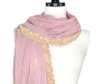 beaded shawl, dusty rose shawl, evening wrap, embroidered stole, mauve bridal stole, wedding shawls, formal shawl, dressy indian shawls