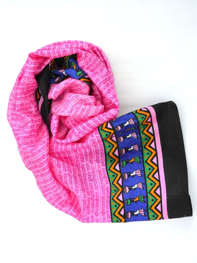 pink scarf indian scarves handmade vegan silk shawl small image 0