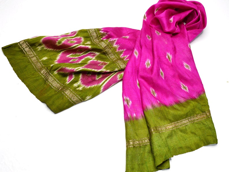 pink silk scarf green scarfs accent scarves ikat indian image 0
