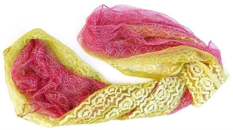 Lace Infinity Scarf Green Loop Pink Circle Scarf Lace image 0
