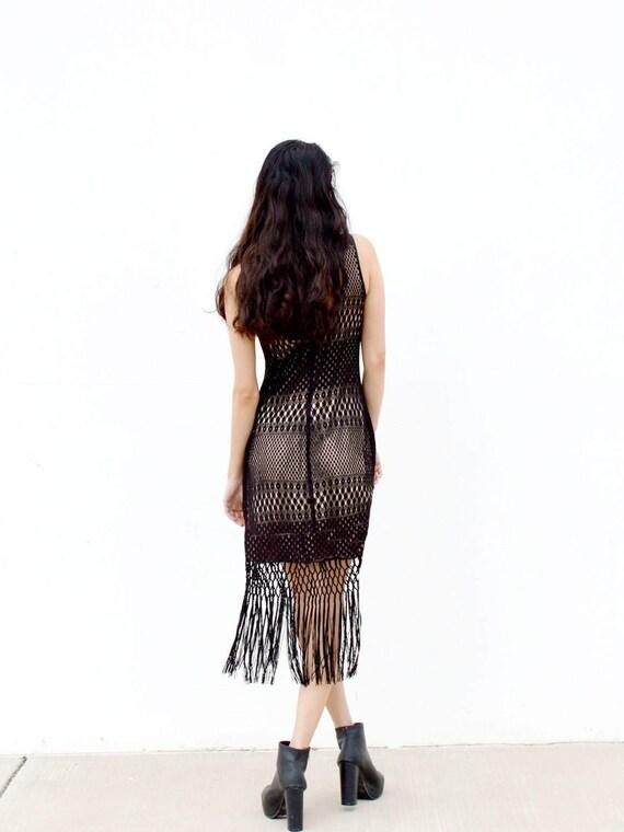 Vestido de crochet negro, vestido de flecos, vestido bodycon, vestido voile flecos, vestido de fiesta, mini de algodón blanco, Bohemia playa vestido