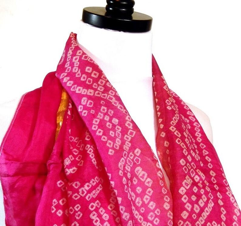 Medium Length Silk Scarf Pink Silk Bandana Pink Silk Scarf image 0