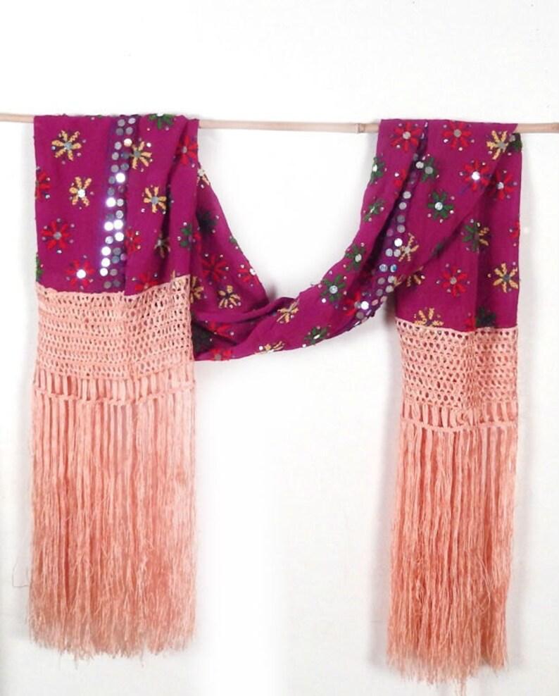 Pink Fringe Scarf Embroidered Silk Scarf Sequin Scarves image 0
