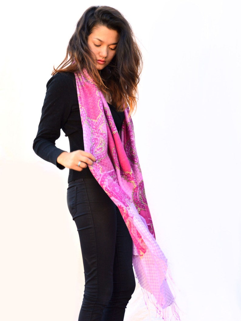 Vintage Pink and White Paisley Scarf Soft Fringed Silk and image 0