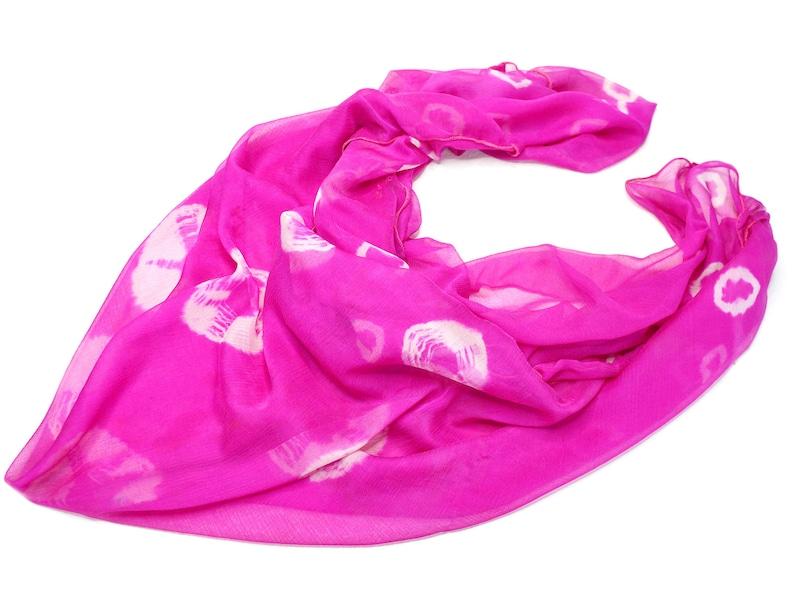 square pink scarf silk shawl tie dye scarves light wrap image 0