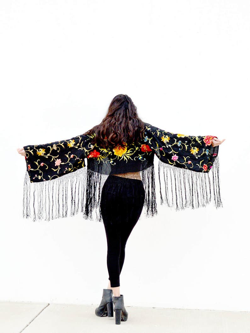 37eb7becc Black crop jacket silk kimono embroidered jacket cropped | Etsy