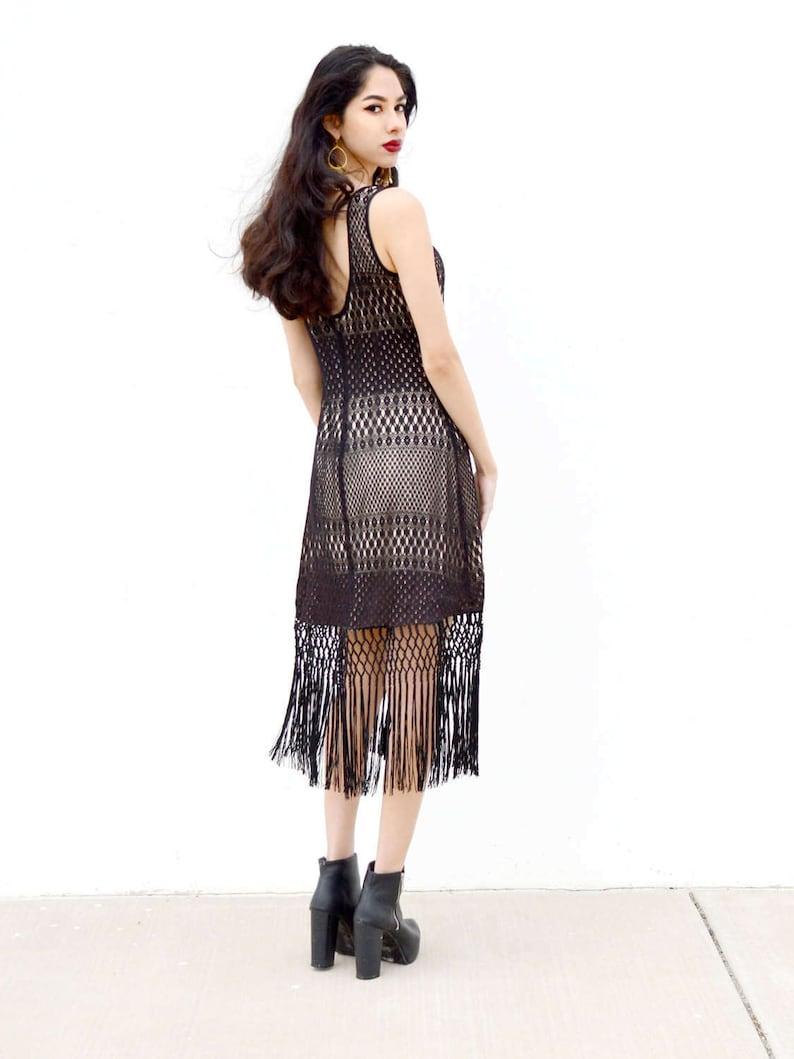 6f98ac41f Vestido de crochet negro vestido de flecos vestido bodycon