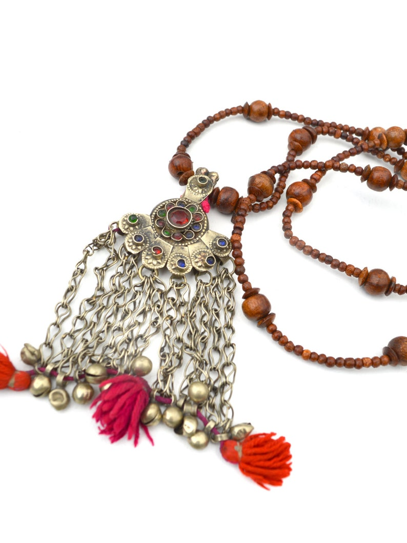 long boho tassel necklace silver necklaces bohemian jewelry image 0