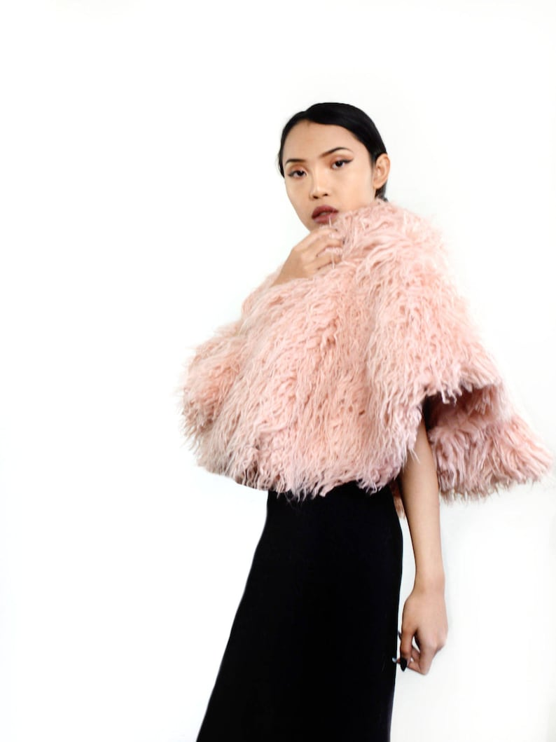 pink fur cape faux fur capelet short pink cape evening image 0