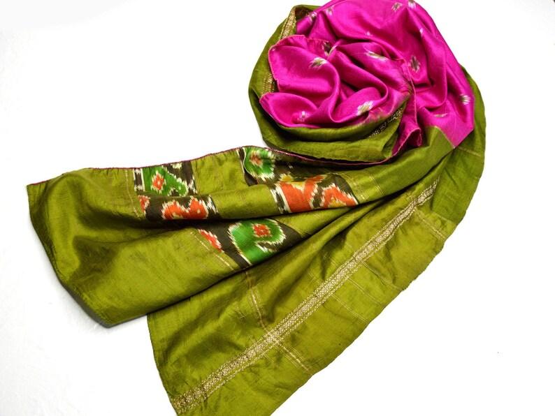 tribal scarf silk scarves long pink scarfs olive green sage image 0