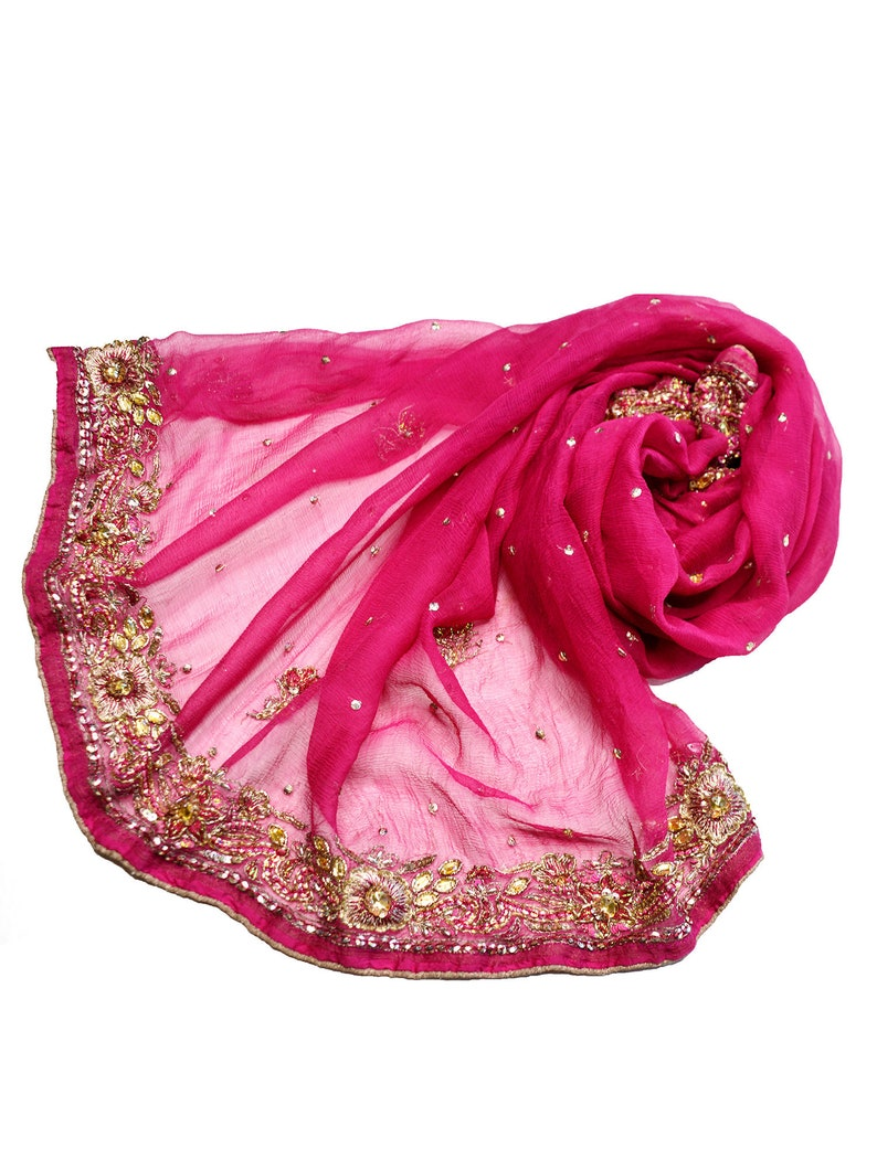 pink silk scarf small beaded scarves evening scarf image 0