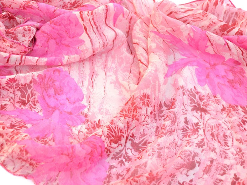 square silk shawl soft pink scarf floral scarves bohemian image 0