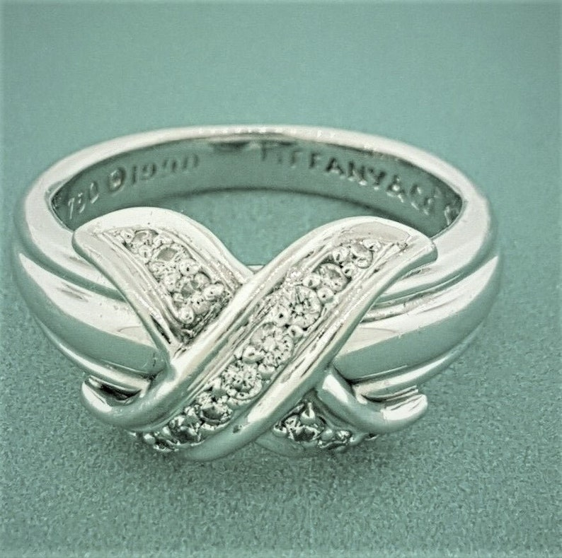 69b3fe6308e2b Tiffany' & Co 18K White Gold Diamond X Criss Cross Love Knot Ring 0.20ct Sz  5.25