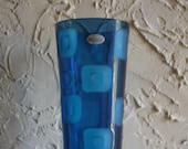 Collectible Fenton International BLUE ODYSSEY COLLECTION Vase With Original Labels Deco Circles Pattern