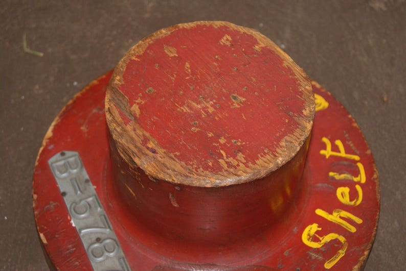 Vintage 1900s WHITING CORP Hat Form Or Mold Number B-5787 Red Painted Wood With Original Makers Labels