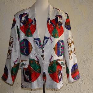 80s Colorful Sequin Jacket Nagpal Silk Jacket Heart Moon Stars Long Sleeve Night Club Cocktail Party Bling Retro Fashion Womens Medium