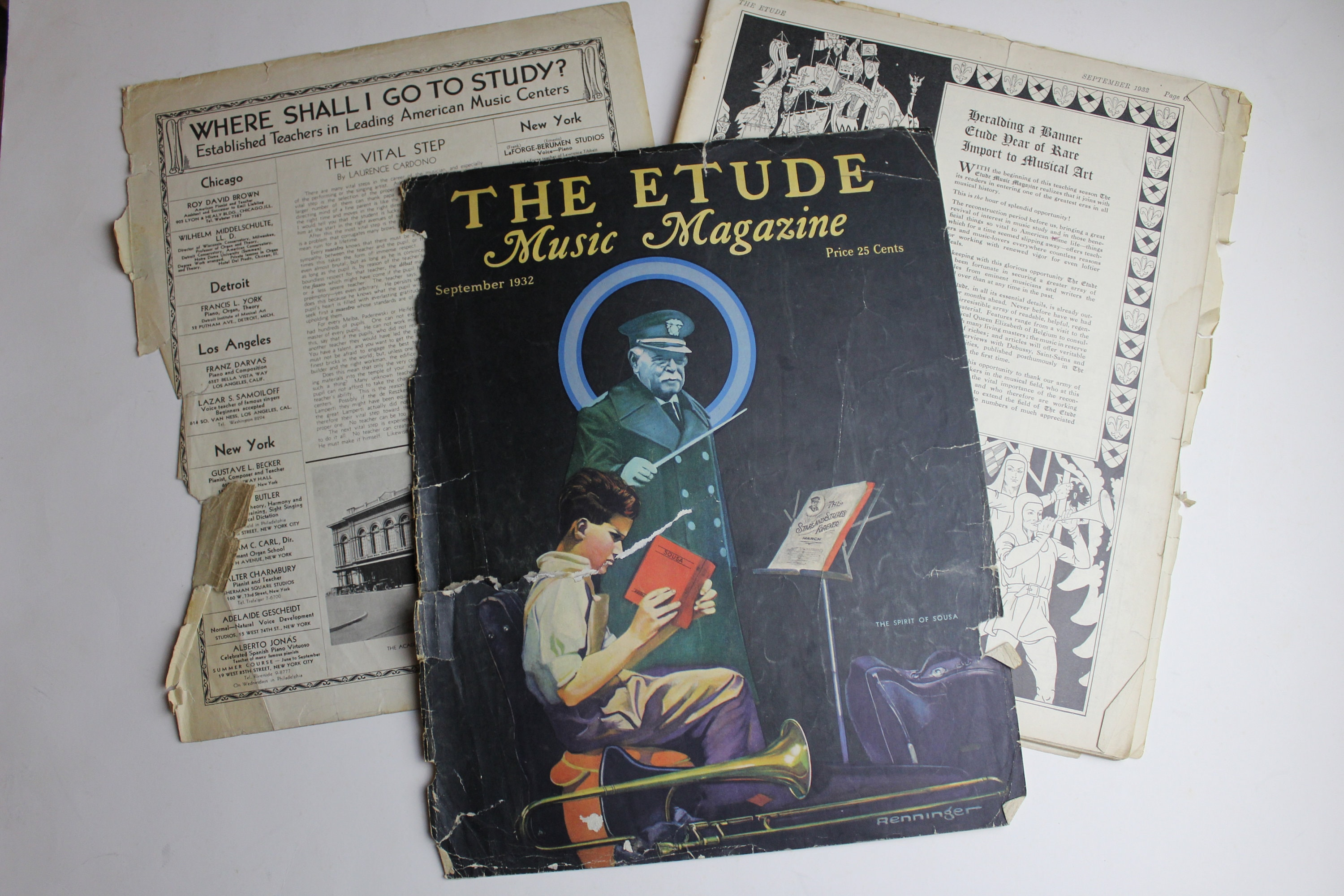 Vintage Lot Of 3 1930s ETUDE Magazines Musical Magazines With Soft Covers  Full Of Sheet Music And Ads