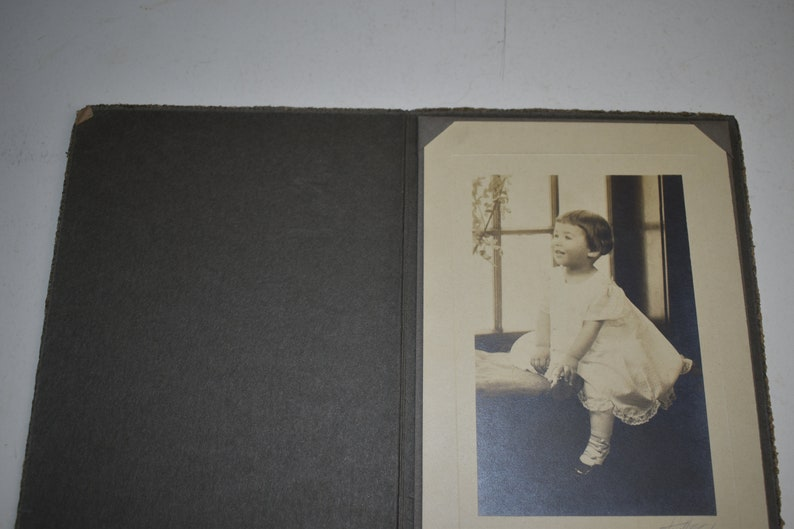 Vintage Circa 1910s Cabinet Photo Toddler Girl In White Dress Looking Out A Window In Card Stock Holder