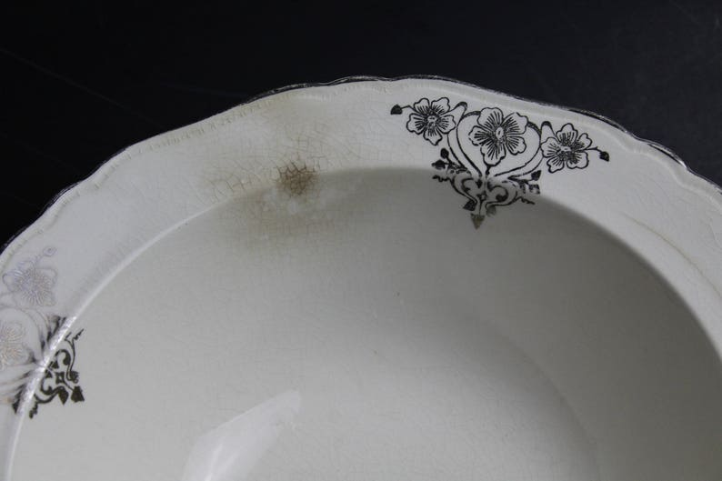 Vintage 1930s CROWN IVORY Serving Bowl Vegetable Bowl Cream With Silver Flowers And Trim