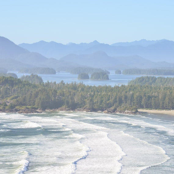 West Coast Landscape Foggy Surfers on Beach in Tofino 8x8 10x10 6x6 Vancouver Island 12x12 Canada Wall Art Square Photographic Print