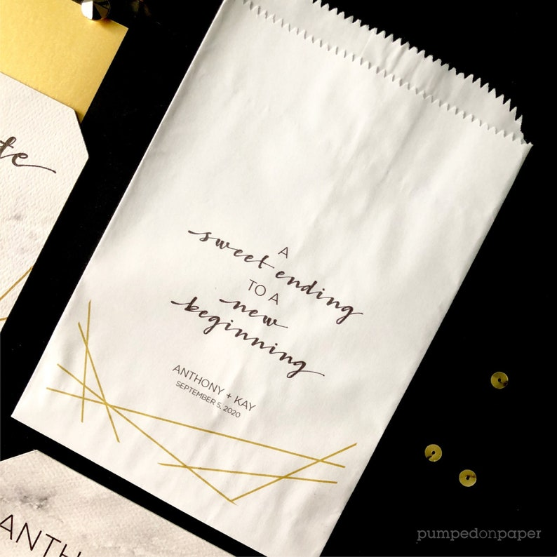 wedding party favor bags a sweet ending to a new beginning image 1