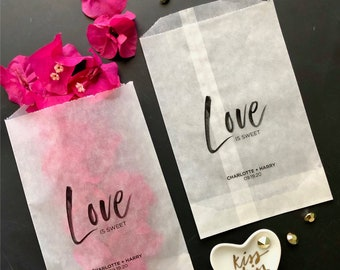 love is sweet bag, wedding party favor bags, personalized treat bags, vellum glassine bags, donut bags, candy bar bags, confetti bags, VLVFB