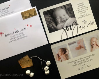 newborn Christmas card, Joy to the World photo card, baby announcement holiday card, birth announcement, stuff print stamp & mail service