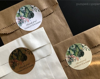 personalized thank you stickers for baby shower, thank you labels for wedding favors, succulent stickers, custom greenery labels, set of 24