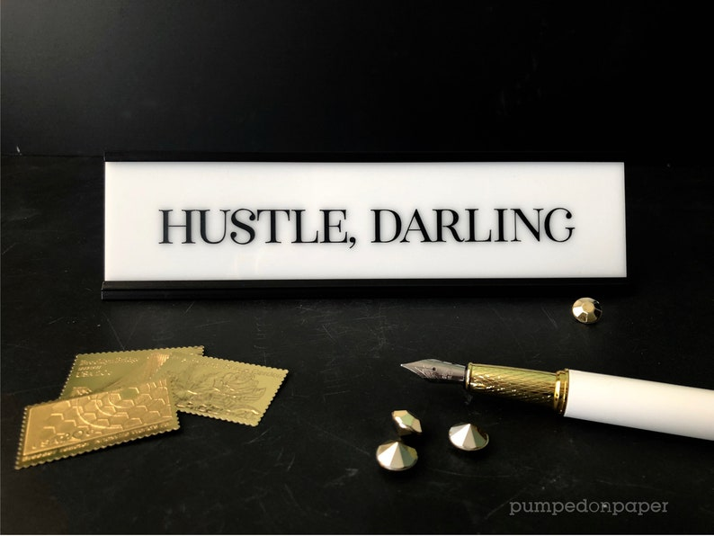 hustle darling desk name plate white acrylic office nameplate with gold or black holder personalized gift motivational desk sign NPHD
