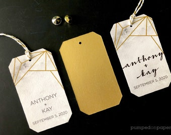 geometric marble and gold wedding favor tags, set of 12 personalized thank you tags with string, MBFT1
