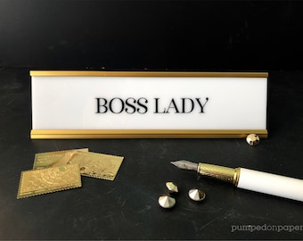 boss lady desk name plate, personalized gift, office name sign, white acrylic nameplate w/gold or black holder, motivational desk sign NPBL