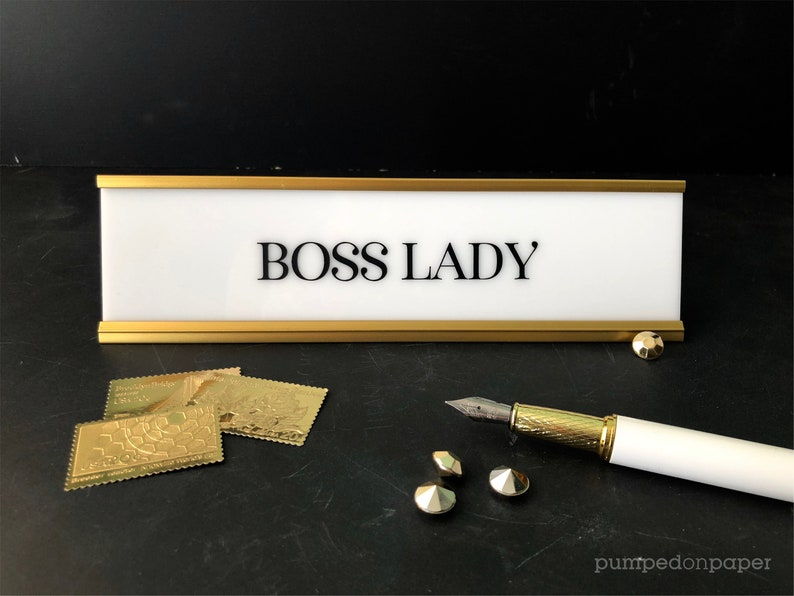 boss lady desk name plate personalized gift office name image 1