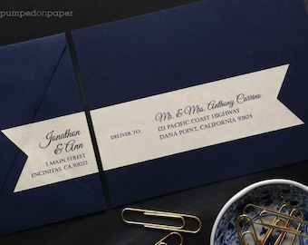 personalized mailing address labels for wedding invitations - custom wraparound return address labels with recipient addressing - set of 12