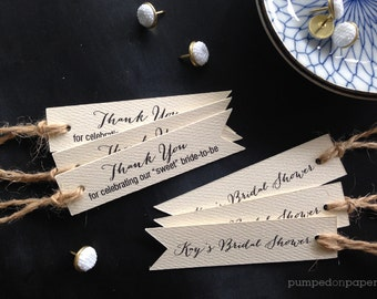 bridal shower favor tags with double sided printing, set of 20 personalized thank you tags