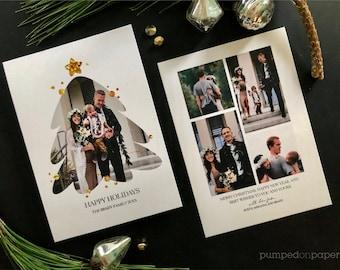 Photo Christmas card, holiday photo card, holiday card, minimalist Christmas photo card template, stuff print stamp & mail service,  CC0821