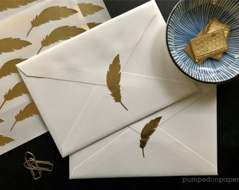 gold foil feather stickers, cute planner stickers, gold labels for wedding invitations, scrapbooking, packaging, stationery, SSFE02