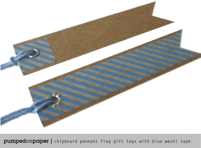 kraft pennant flag with blue striped washi tape set of 20 blue baby shower favor tags