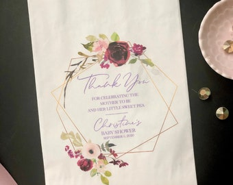 baby shower party favor bags, thank you for celebrating the mother to be personalized goody bag, lined, grease resistant