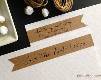 save the date skinny wraparound return address labels -  wedding invitations - bridal shower - baby shower - birthday - set of 28 - SWLA01