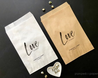 love is sweet bag, wedding party favor bags, personalized treat bags, donut bags, candy bar bags, confetti bags, white or brown kraft, VLFB