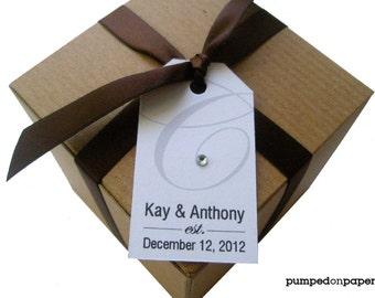 wedding favor tags - monogram with rhinestone  - set of 20